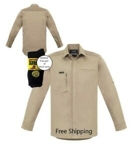 Mens Streetworx L/S Stretch Work/casual Shirt - Khaki - PLUS free work socks