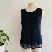 Caroline Morgan Size 12 Black Beaded Top Lace Evening Keyhole Back Closure
