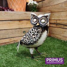 Primus Hand Crafted Metal White Solar Owl Light Decorative Garden Bird Ornament