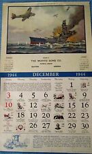 """1944 Ad Calendar Page Titled """"Sinking of Haruna"""" - Morris Sons Funeral Home *"""