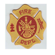 """Wholesale Lot of 12 Fire Department Yellow 3"""" Iron On/Sew On Patch FAST SHIPPING"""