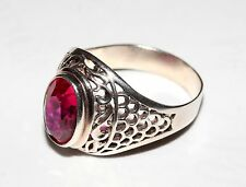 Super beauty  RUBY stone Size 10 Ring Silver 875 USSR Antique