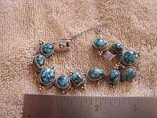 Sharon Sandoval Signed  Sterling Silver 925 Turquoise  Bracelet