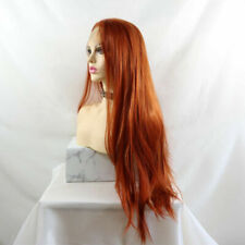 """24"""" Copper Auburn Silky Straight GlueLess Lace Front Wig Synthetic Hair Women"""