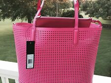 NWT MARC JACOBS Leather Metropolitote Tote Shoulder Perforated Fuschia Pink $298