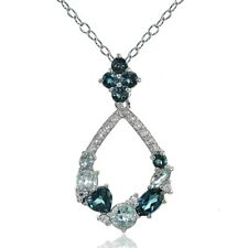 925 Silver London Blue, Blue & White Topaz Open Teardrop Cluster Flower Necklace