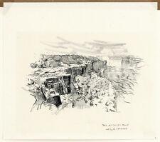 HUGH LAIDMAN Signed Rare Orig c1969 Estate Drawing of DRY AMERICAN FALLS NIAGARA