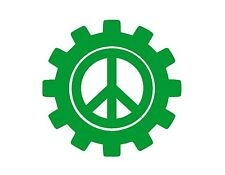 PEACE SIGN GEARS VINYL WINDOW DECAL GREEN 6X6""