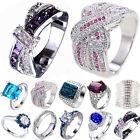 925 Silver Rings Women Man Sapphire Topaz Wedding Prom Finger Ring Size 6-10