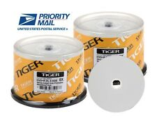 100-pack tiger white inkjet hub printable dvd + r dual, double layer disc 8.5gb
