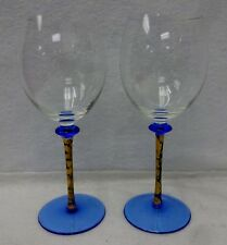 Unknown Mfg Set of Two (2) BLUE & GOLD Stem BLUE FOOT Wine Water Goblets 8-5/8""