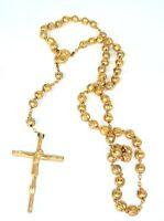 Vtg Italian Rosary Bead Metal Gold Tone Italy Crucifix Cross Catholic Inri