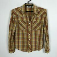 Salt Valley Western Shirt Size M Brown Orange Plaid Pearl Snap Long Sleeve Mens