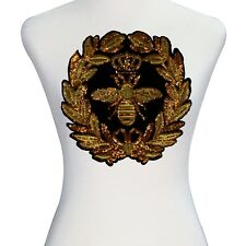 Wreath Gold Sequins Crown Bee Patches Embroidery Applique Clothes Craft Sew On