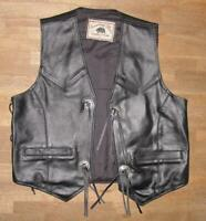 """ Running Bear "" Lace-Up Leather Vest / Biker Vest IN Black XL Approx. 54"