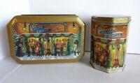 "2 Candy Toffee Tin Callard Bowser Victorian Christmas Shop Window Octagon 9"""