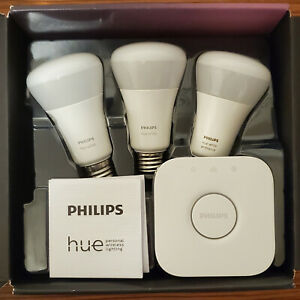 Philips Hue Hub (Latest Model) with 2 Hue White Bulbs and 1 White Ambience Bulb
