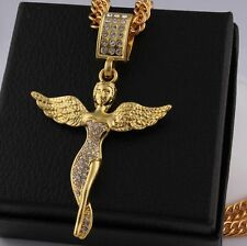 NEW 18k Gold Plated Maiden angel Rhinestone Pendant Chain Hip Hop Necklace N63
