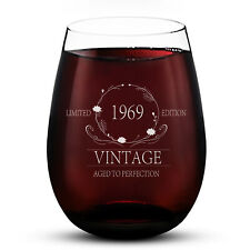 Stemless Wine Glass 15oz 1969 Vintage Edition Etched Wine Glass Cups Evening Mug