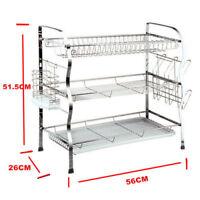 Brand New 3 Tier Steel Dish Drainer Crockery Cutlery Rack Organiser Drip Tray