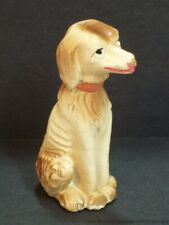 Afghan Hound Ceramic Figurine Brown White Vintage Sitting Dog Figure Portugal