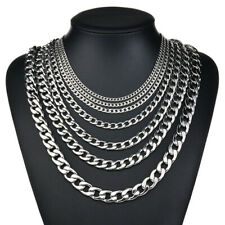 """18""""-32"""" Stainless Steel Silver Tone Chain Cuban Curb Mens Necklace 3/4/6/9/12mm"""