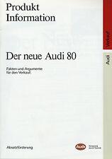 Prospekt Audi 80 7/86 Autoprospekt 1986 Produktinformation Fakten Argumente Verk