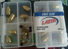 lot 52 piece eagle claw Lazer Brass & Glass Carolina Rig Weight kit Bead swivel