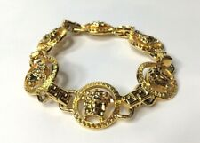 GIANNI VERSACE VINTAGE '90s MEDUSA CHAINED BRACELET UNISEX GREEK KEY GOLD ITALY