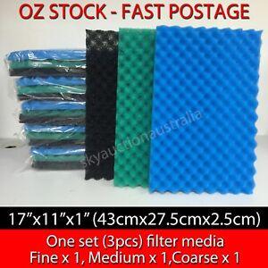 Aquarium Fish Pond Filter Media Foam Sponge 1 Set (3pcs) Fine/Medium/Coarse