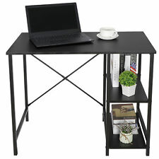 Computer Desk PC Laptop Table Workstation Study Home Office With 2 Tier Shelves