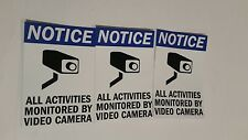 VIDEO SURVEILLANCE CCTV Security Decal  Warning Sticker (2.75x4in)set of 3 blue