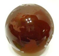 VINTAGE 1982 ART GLASS WORLD GLOBE PAPERWEIGHT BURGUNDY RED HAND BLOWN TAIWAN