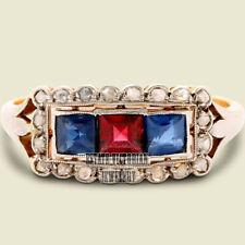 1.13cts Rose Cut Diamond Gemstone Studded Silver Victorian Wedding Ring Jewelry