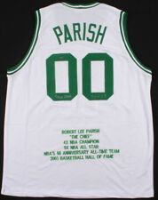 Robert Parish Signed Boston Celtics Career Stat Jersey (Leaf COA)
