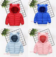 Toddler Kids Boys Girls Baby Warm Cotton Down Jacket Hooded Snow Coat Outerwear