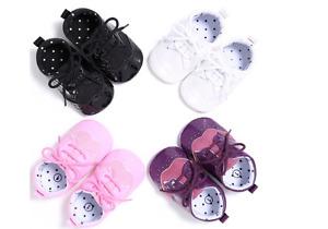 Newborn Baby Boy Girl Soft Sole Oxford Crib Shoes PreWalker Trainers 3 6 9 12 18
