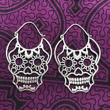 Silver-Plated Sugar Skull Hoop Earrings