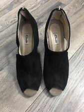 Clarks Wedge Black Suede PeepToes Ladies Shoes Size UK 4.5 D