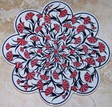 "Small Red Carnation Pattern 7"" Turkish Ceramic Hot Plate Trivet Tile"