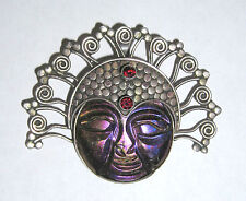 Balinese Style Sterling Silver Carved Goddess Face Pendant Accented w/ Garnets