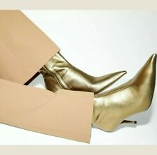 NWT ZARA GOLD LEATHER RUNWAY WOMAN  KITTEN HEEL ANKLE BOOTS SIZE Fit US 8/8.5
