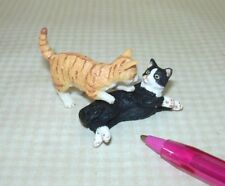 Miniature Pair of Cats, Socks and Orange Striped, PLAYING! DOLLHOUSE 1:12