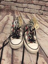 Converse Distressed Grey Black Red Flag Stars Stripes HI TOP Shoes Mns 6 women 8