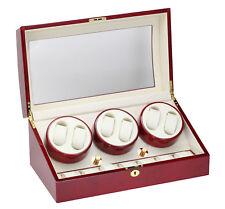 Storage Cherry Finish Cream Leatherette 31-416 Diplomat 6 + 7 Watch Winder w/