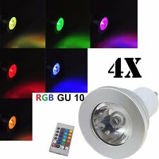 4x 3W GU10 16 Color Changing RGB LED Light Bulb Lamp 85-265V + IR Remote Control