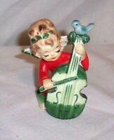 "Vintage 4 1/4"" LEFTON ceramic Angel figurine with cello/bass violin JAPAN # 2543"
