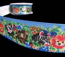 """5 Yds Jungle Lions Tigers Zebras Monkeys Kid Kids Baby Child Satin Ribbon 1 1/2"""""""