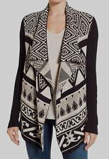 $99 Lucky Brand Women Black Beige Knit Cotton Sweater Open-Front Cardigan Size M