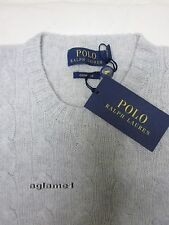 Last1 $398 NWT polo Ralph Lauren soft 100%  cashmere cable sweater light gray M